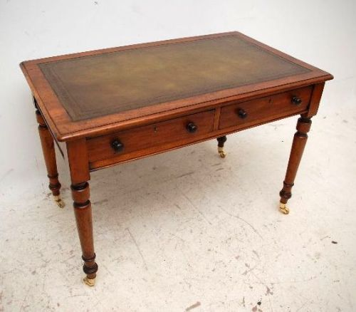 antique victorian mahogany leather top writing table desk - Antique  Victorian Mahogany Leather Top Writing Table - Antique Desk Leather Top Antique Furniture
