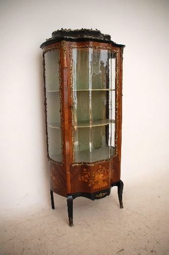 Superbe Antique French Rosewood Marquetry Vitrine Display Cabinet