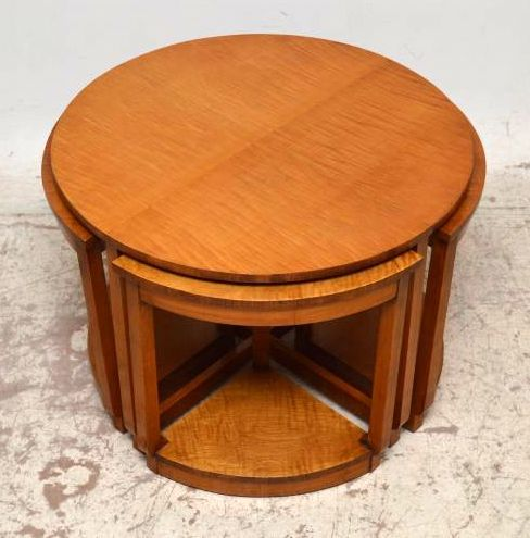 very stylish art deco sycamore circular nesting coffee table