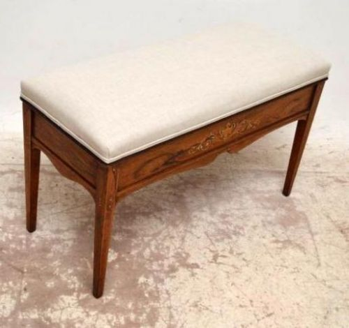 Antique Victorian Inlaid Rosewood Duet Piano Stool