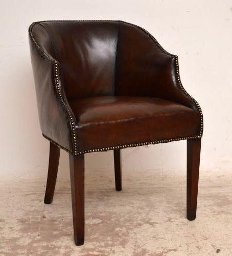 antique edwardian leather mahogany tub chair - Antique Edwardian Leather & Mahogany Tub Chair 246121