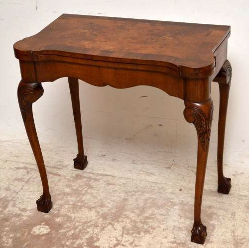 Antique Queen Anne Style Burr Walnut Card Table 250758
