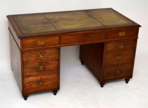 antique victorian mahogany leather top campaign desk - Antique Victorian Mahogany Leather Top Campaign Desk 261681