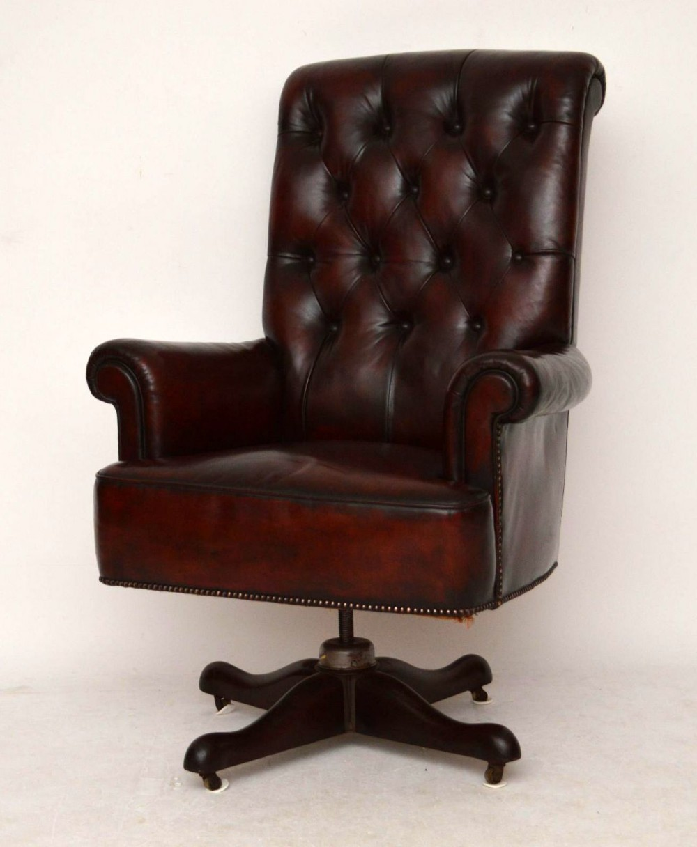 Large Antique Leather Swivel Desk Armchair