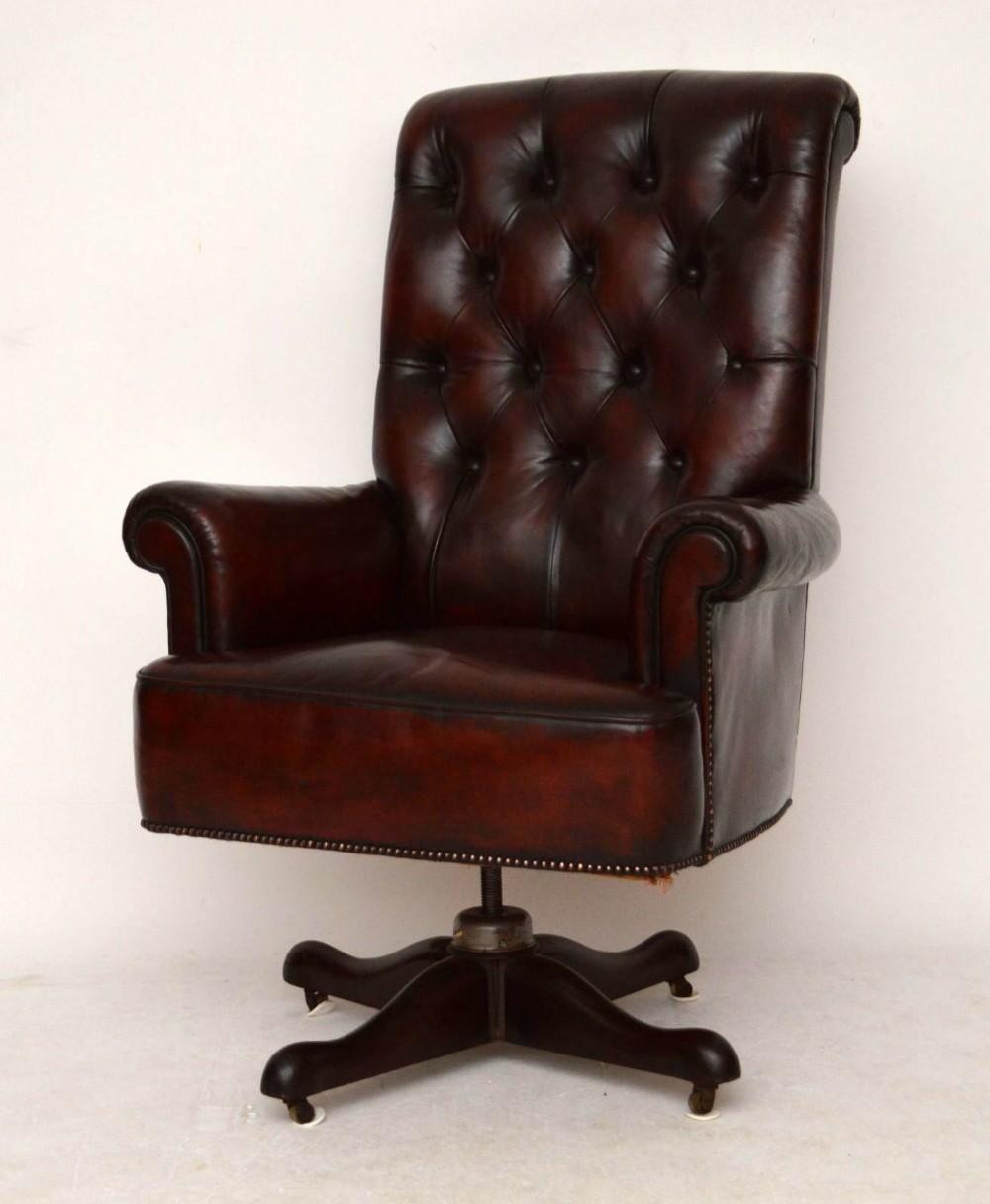 large antique leather swivel desk armchair - Large Antique Leather Swivel Desk Armchair 293354