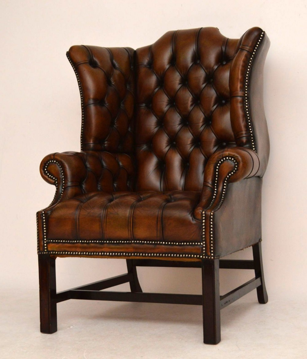 Antique Deep Buttoned Leather Wing Back Armchair | 293826 ...