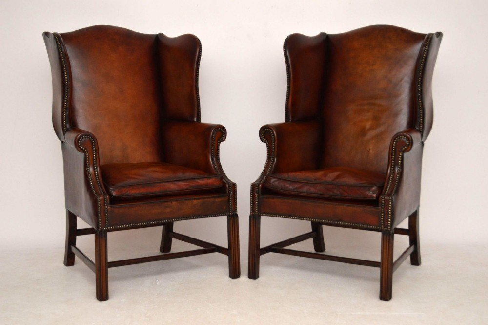 pair of antique georgian style leather wing back armchairs - Pair Of Antique Georgian Style Leather Wing Back Armchairs 300283