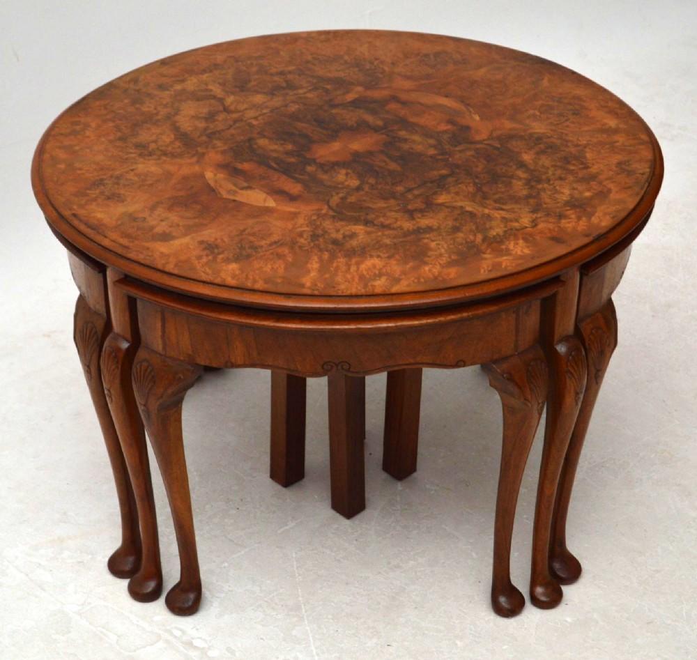 Antique burr walnut nesting coffee table