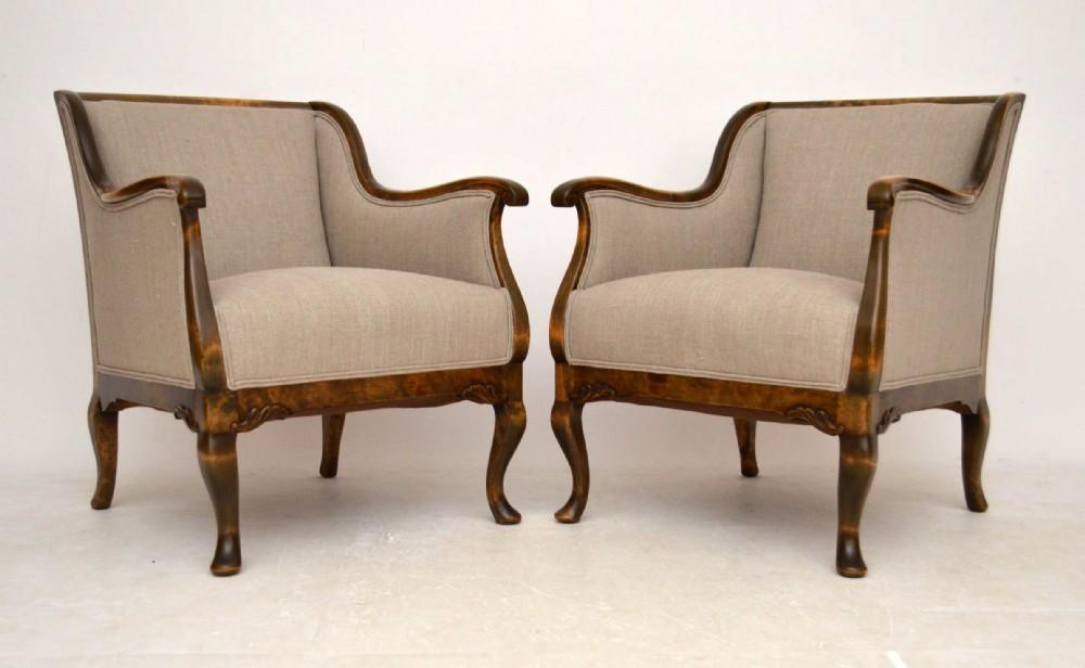 pair of antique swedish satin birch armchairs - Pair Of Antique Swedish Satin Birch Armchairs 303105