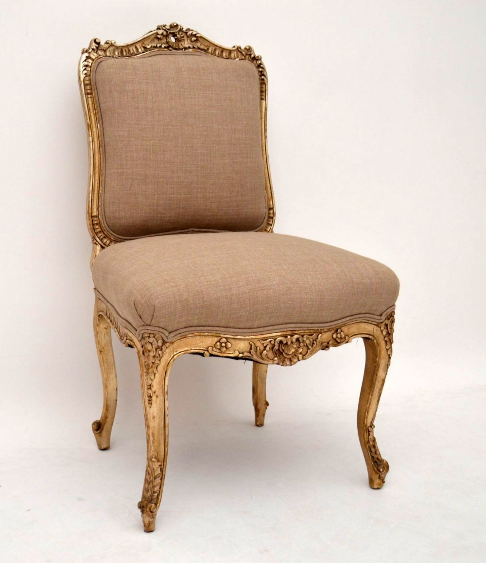 Antique french carved silver gilt upholstered chair