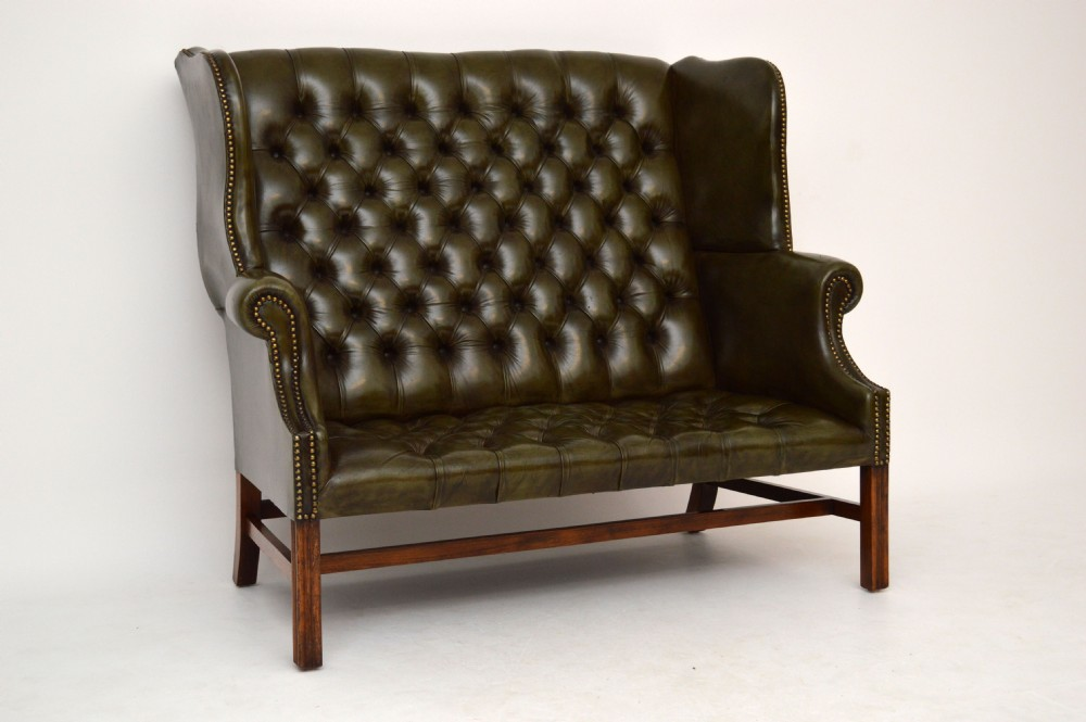 Antique Deep Buttoned Leather Wing Back Settee Sofa 364231