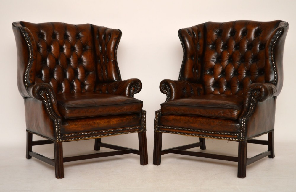 Pair Of Antique Deep Buttoned Leather Wing Armchairs ...