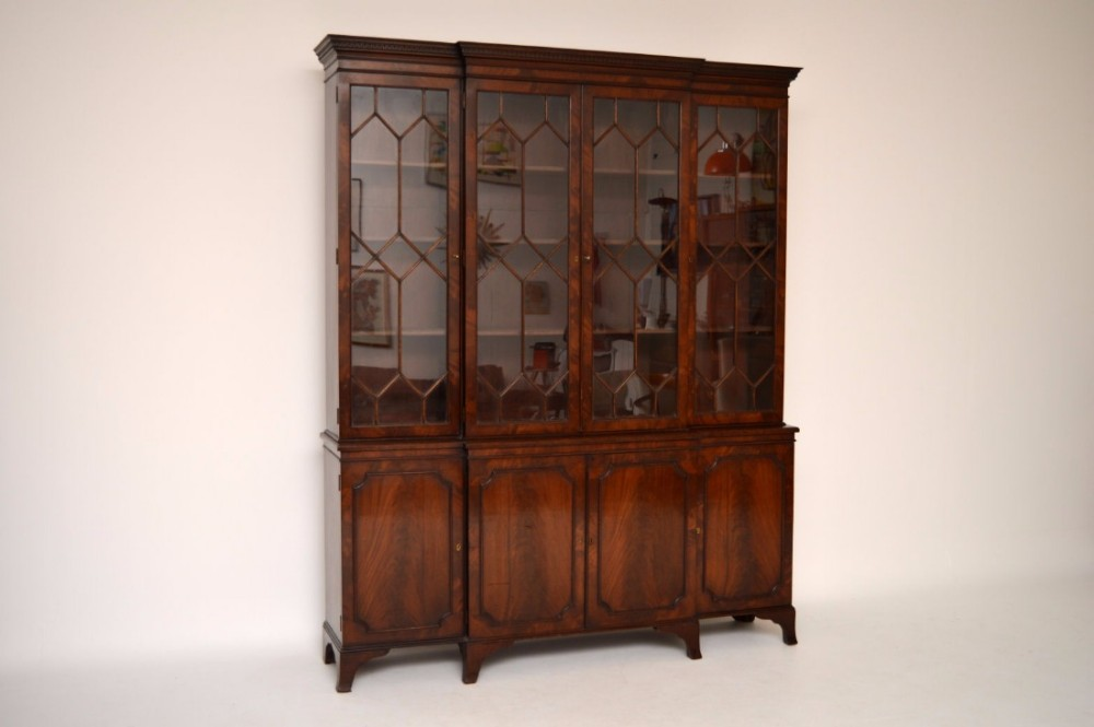 antique breakfront mahogany bookcase