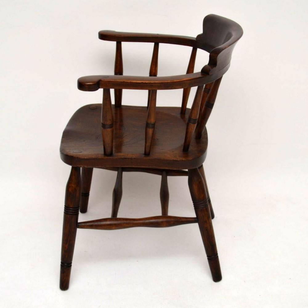 Antique victorian oak captains desk chair 454368 sellingantiques