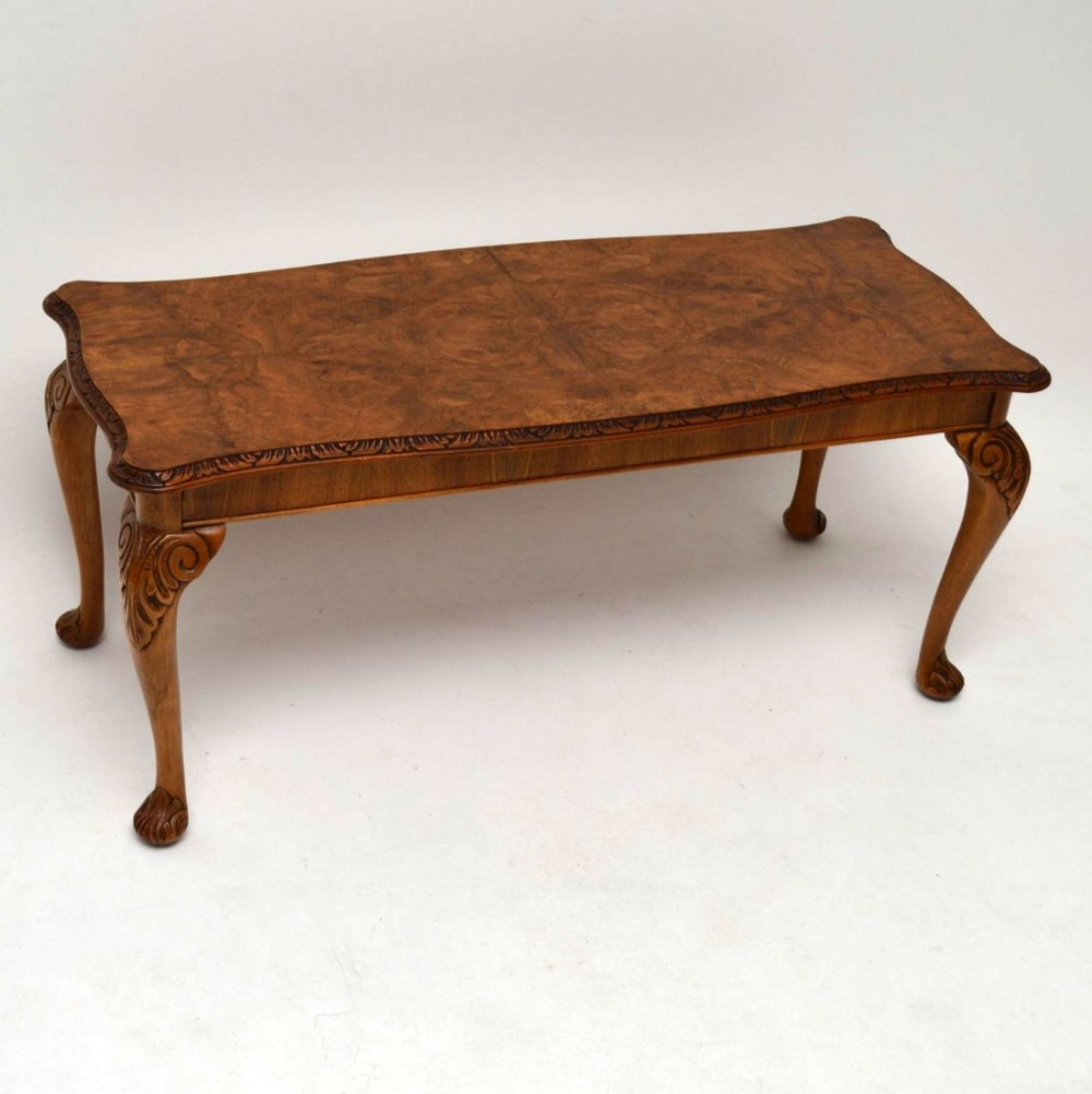 Antique Queen Anne Style Burr Walnut Coffee Table 455012