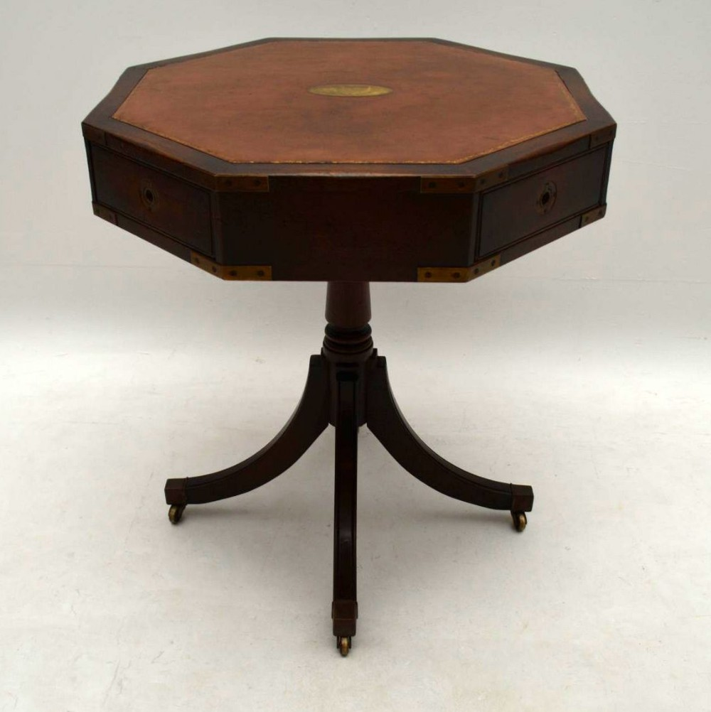 antique mahogany leather top military style drum table