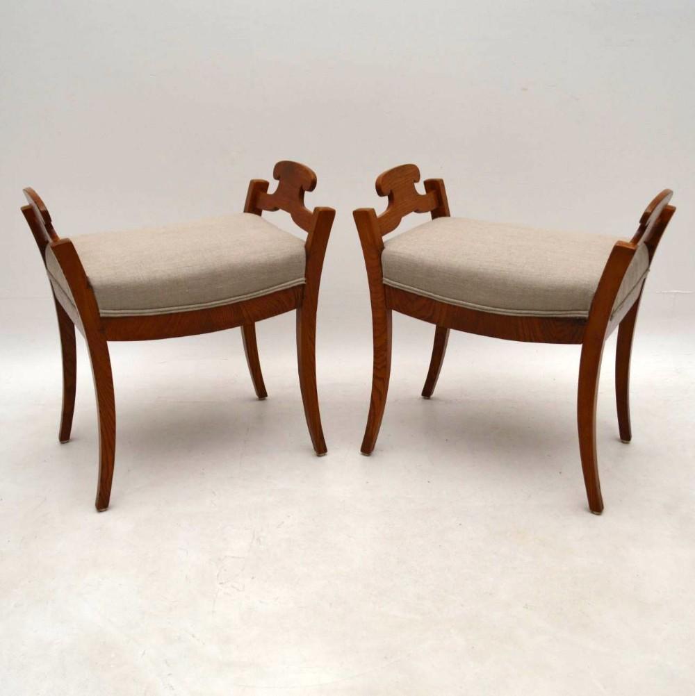 pair of antique swedish biedermeier stools