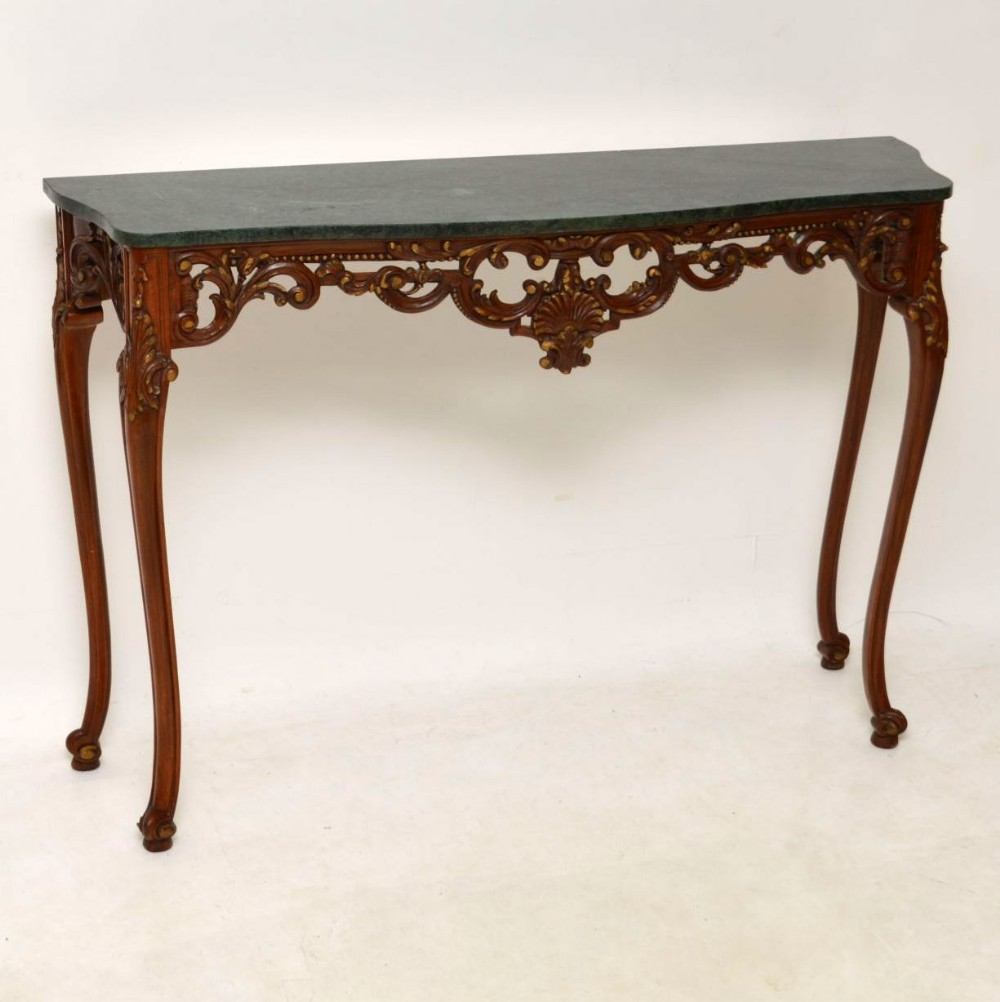 antique french carved walnut marble top console table