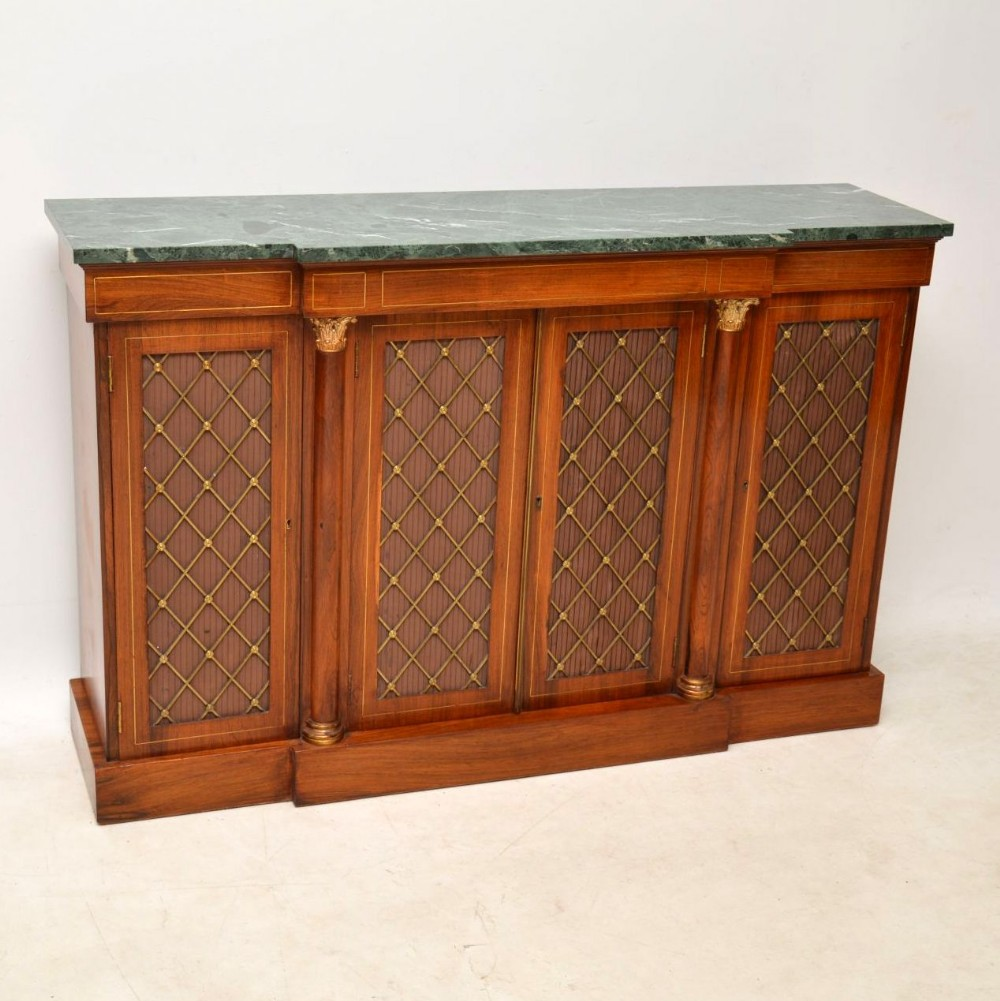 antique rosewood marble grill front sideboard