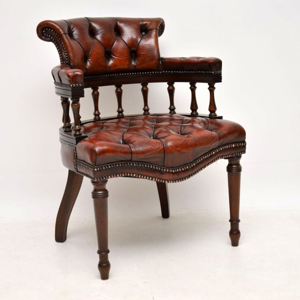 antique deep buttoned leather mahogany desk armchair