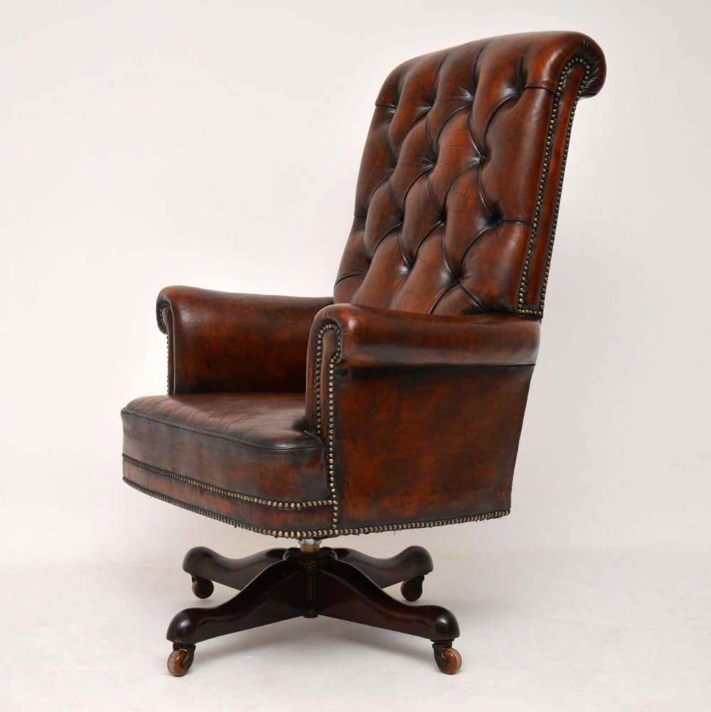 Incredible Antique Leather Mahogany Swivel Desk Chair 630464 Beatyapartments Chair Design Images Beatyapartmentscom
