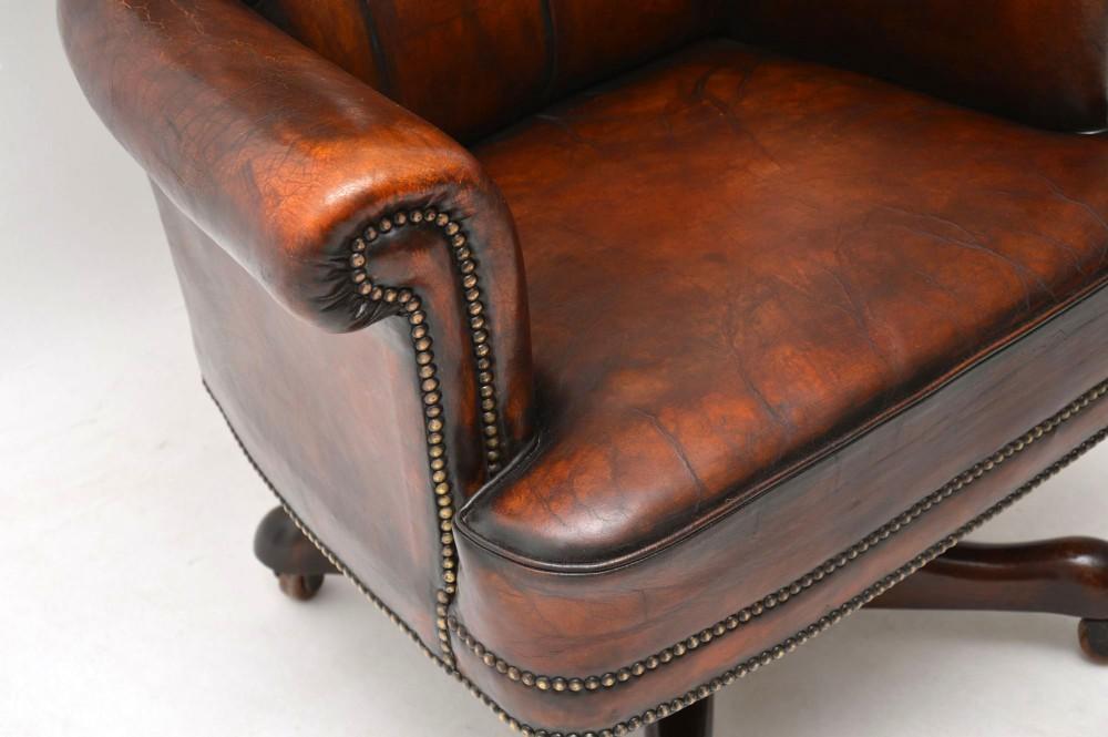 Superb Antique Leather Mahogany Swivel Desk Chair 630464 Beatyapartments Chair Design Images Beatyapartmentscom