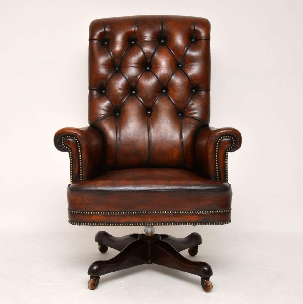 Surprising Antique Leather Mahogany Swivel Desk Chair 630464 Beatyapartments Chair Design Images Beatyapartmentscom