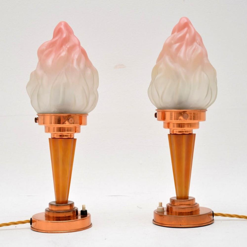 1930s pair of original art deco table lamps