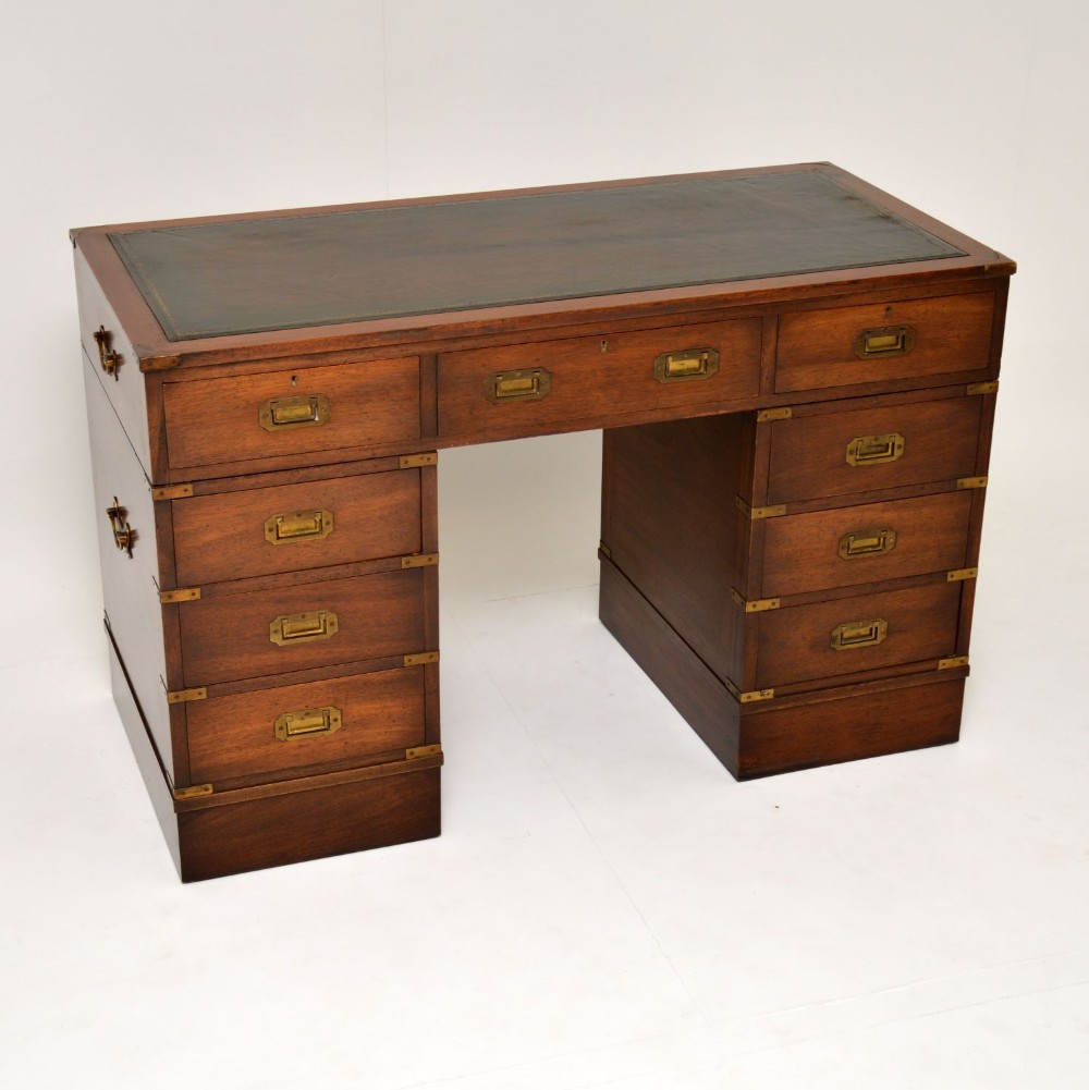 antique mahogany military campaign style leather top desk