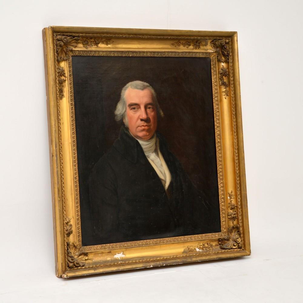 antique gilt wood framed oil painting portrait