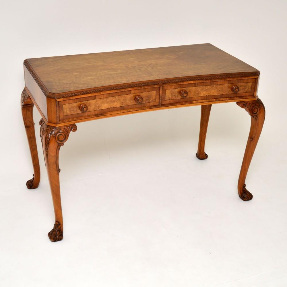antique burr walnut queen anne style console server table