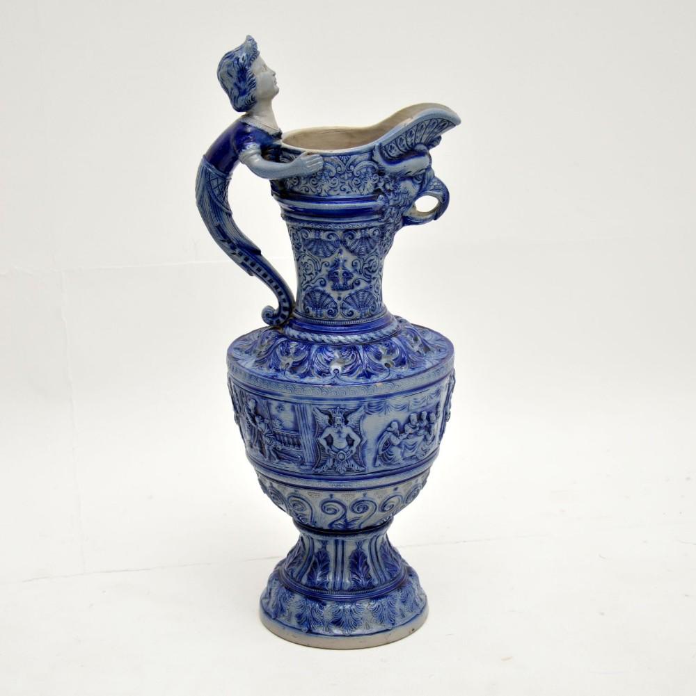 antique 19th century german westerwald stoneware ewer