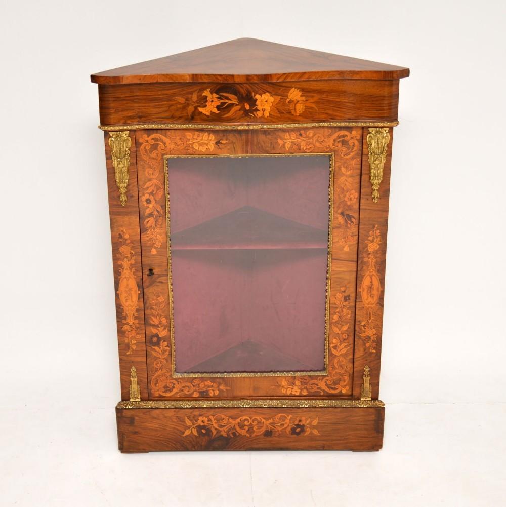 antique victorian inlaid walnut corner cabinet
