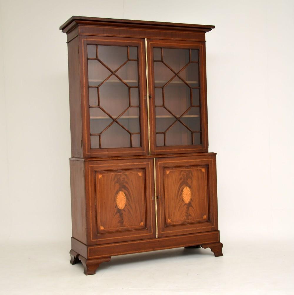 antique edwardian inlaid mahogany bookcase