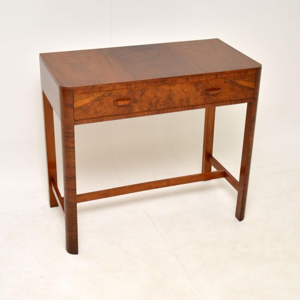 art deco figured walnut side table by heals