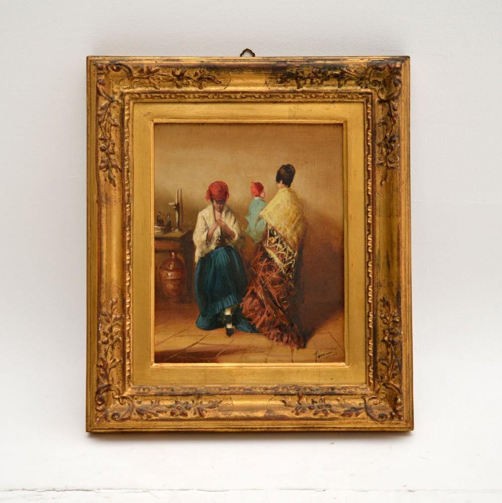 antique oil painting in gilt wood frame