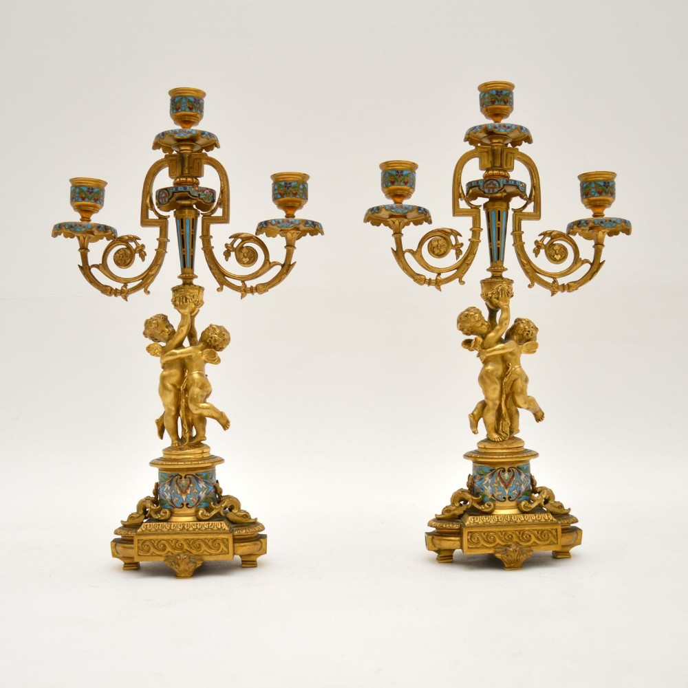 pair of antique french victorian gilt bronze champlev candelabra