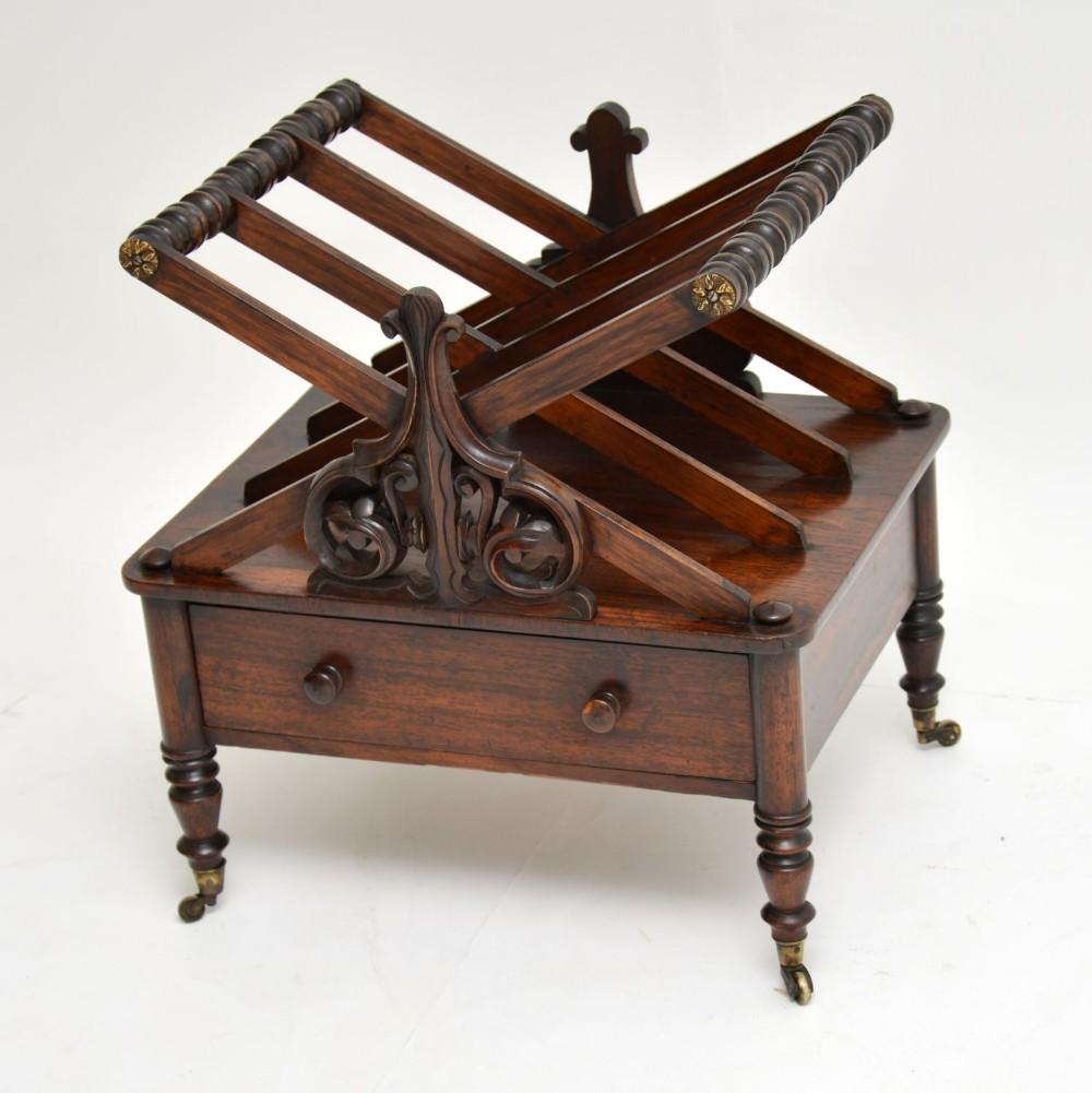 antique regency rosewood canterbury magazine stand