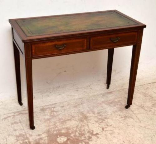 Small antique edwardian inlaid mahogany writing table