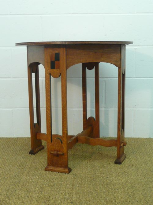 arts crafts inlaid oak side center table