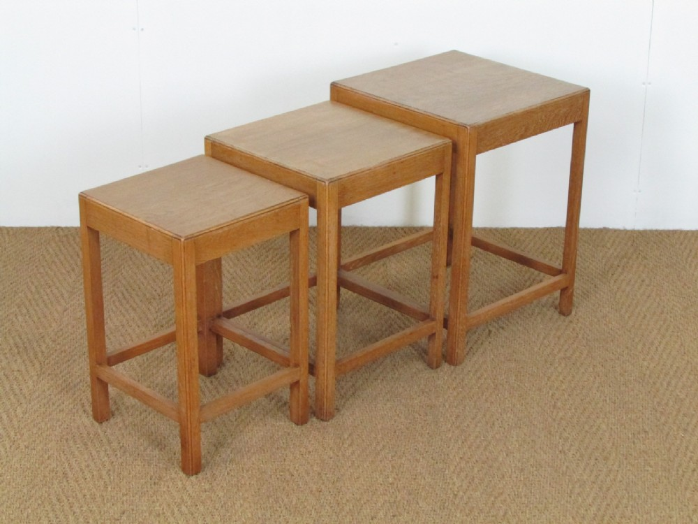 Heals Limed Oak Nest Of Tables    Sellingantiques.uk