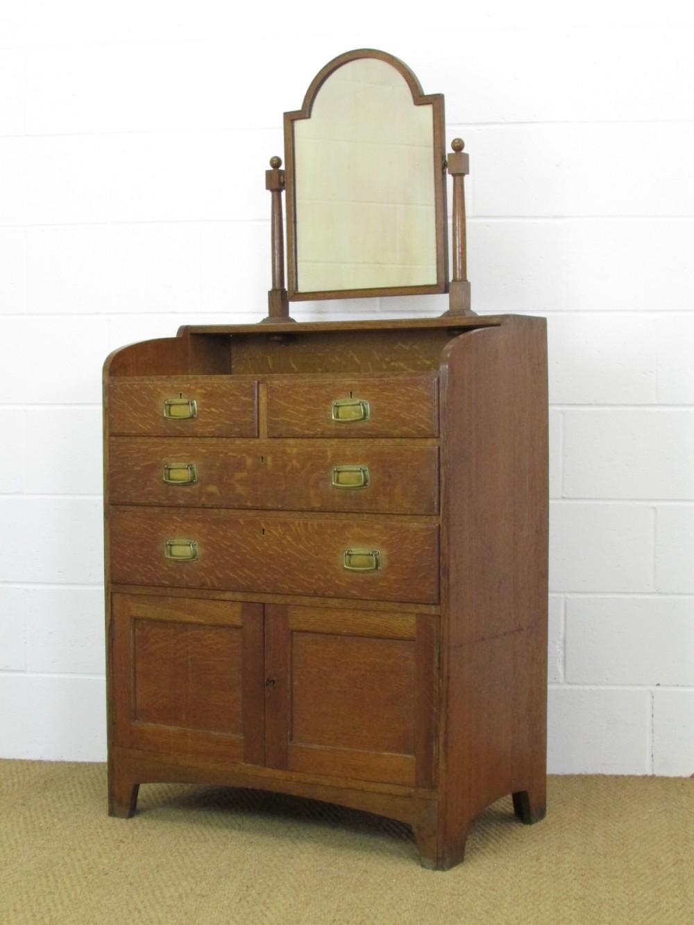 heal's arts crafts oak dressing chest