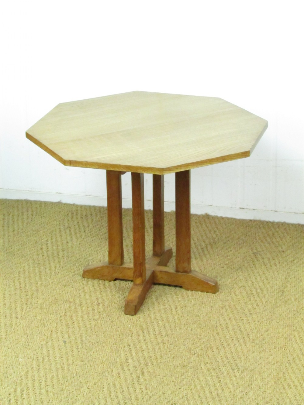 arts crafts cotswold style octagonal oak side table