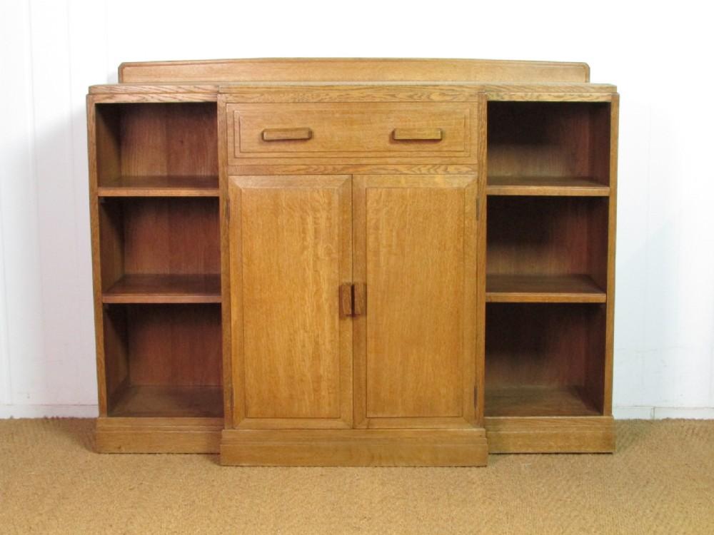 cotswold style oak breakfront bookcase cabinet by brynmawr furniture