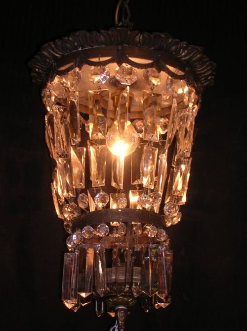 antique pair of brass and crystal chandeliers hall lights lanterns