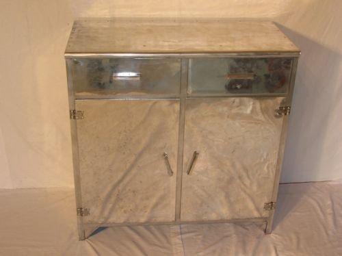 antique vintage art deco retro aluminium sideboard