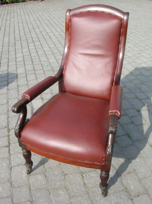 antique regency mahogany framed leather upholstered library reading easy occasional gillows design armchair c1820
