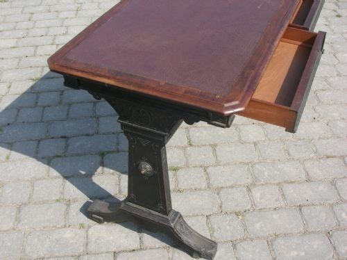 antique walnut library writing desk - photo angle #2