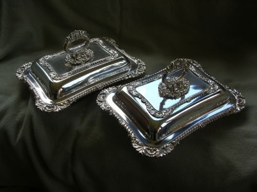 antique pair of silver plated entree dishes