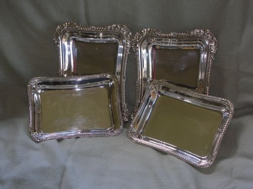 antique pair of silver plated entree dishes - photo angle #2